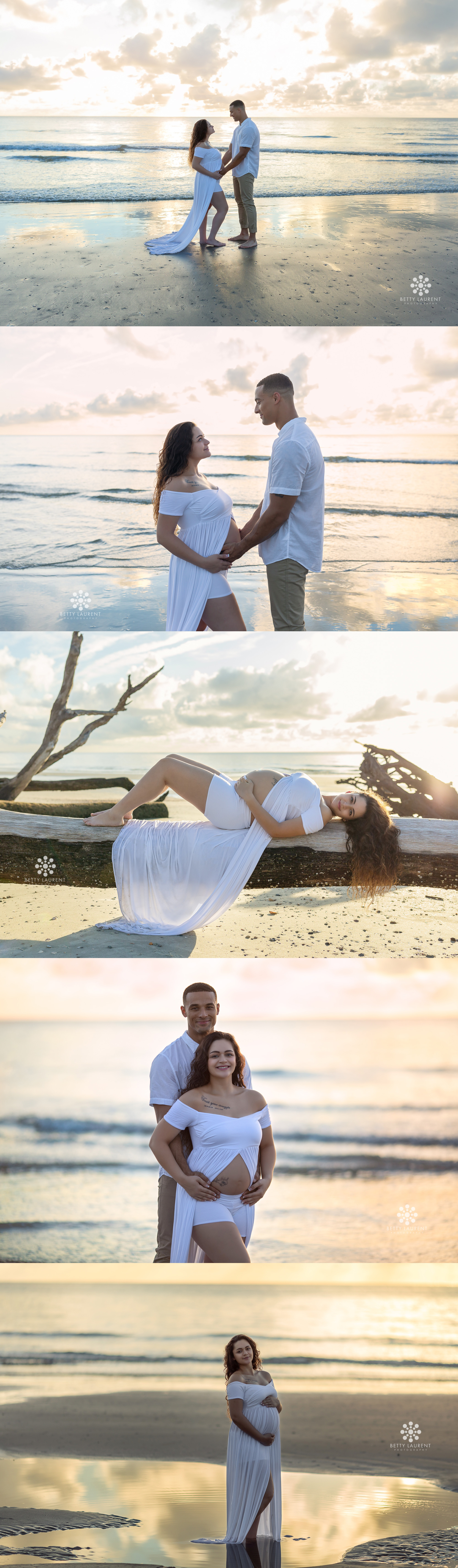 maternity beach sunrise session in Beaufort South Carolina